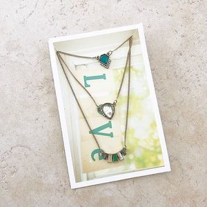 Emerald layered necklace NWT